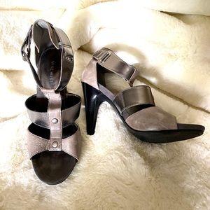 Nine West grey/pewter metallic open toe heels